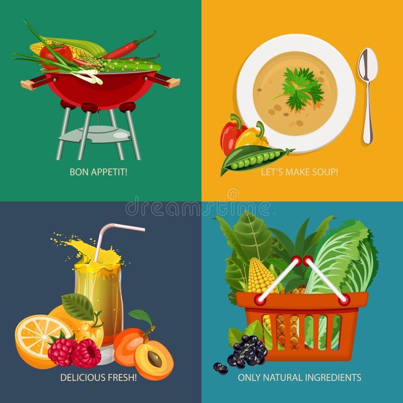 Ensemble de publicité de bannières de concept avec des icônes de légume et de fruits pour le menu végétarien de cuisine familiale illustration libre de droits