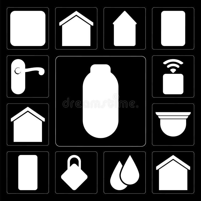 Ensemble de puissance, maison futée, l'eau, fermant à clef, mobile, camer de sécurité illustration de vecteur