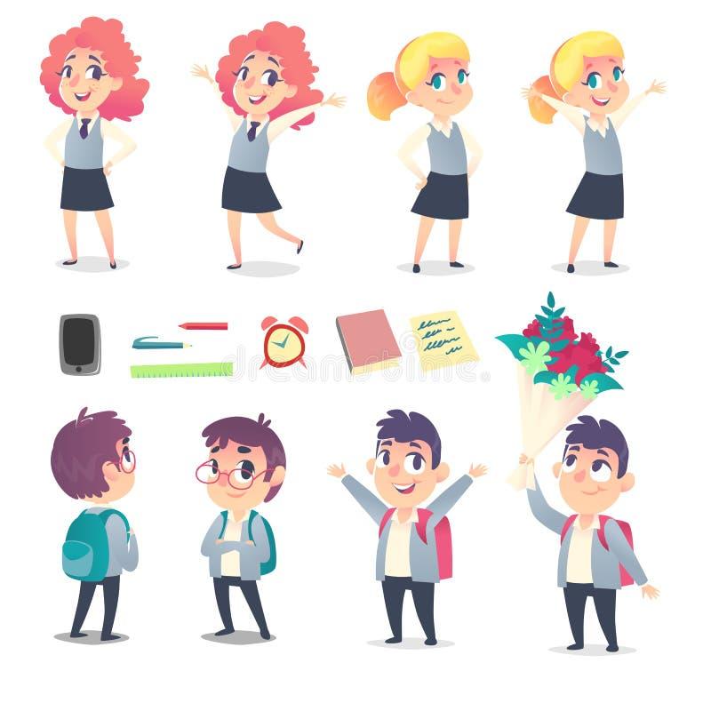 Ensemble de quatre élèves et fournitures scolaires avec deux émotions différentes image libre de droits
