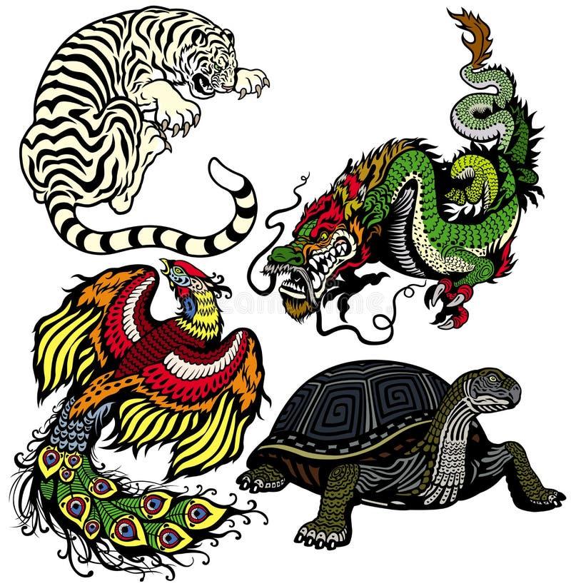 Ensemble de quatre animaux célestes de shui de feng illustration stock
