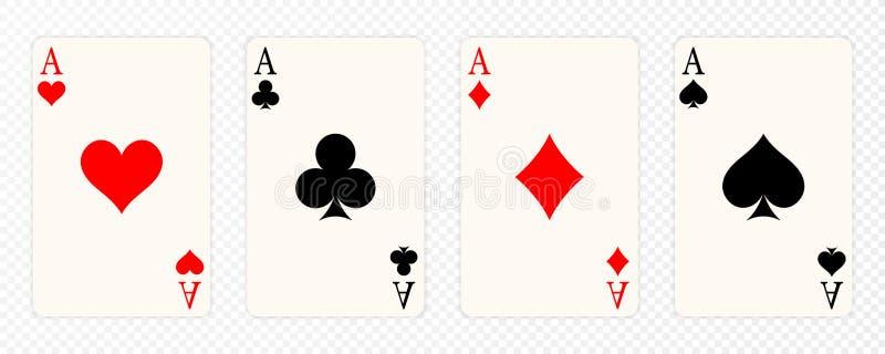 Ensemble de quatre as jouant des costumes de cartes Main de tisonnier de gain L'ensemble de coeurs, les pelles, les clubs et les  illustration stock