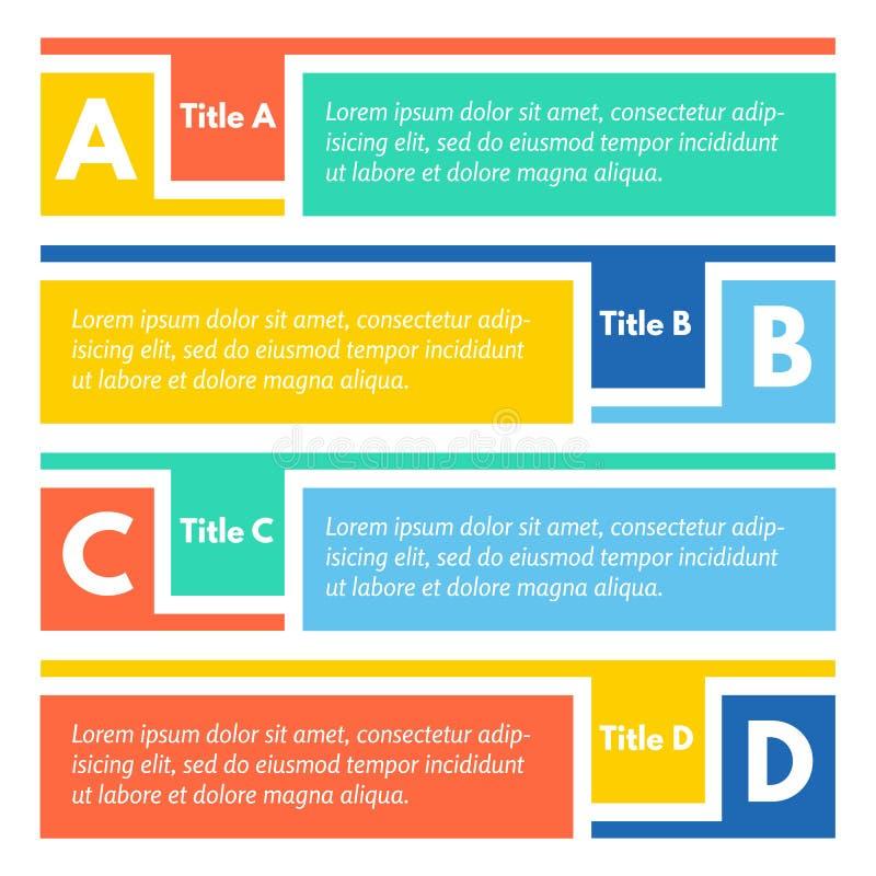 Ensemble de quatre bannières colorées horizontales d'options illustration de vecteur