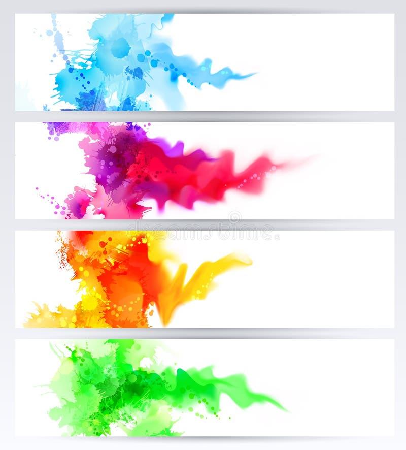 Ensemble de quatre bannières, en-têtes abstraits avec les taches colorées Taches et tache floue lumineuses illustration stock