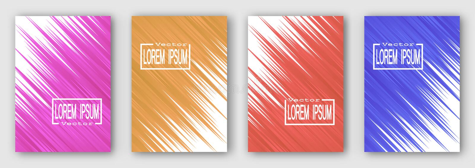 Ensemble de quatre brochures, affiches, insectes Rayures bleues roses de rouge orange diagonalement Pour votre conception illustration de vecteur