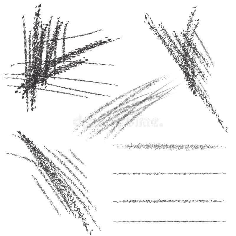 Ensemble de quatre brosses de craie Textures de craie et de charbon de bois Courses de brosse de vecteur Calibre grunge expressif illustration stock