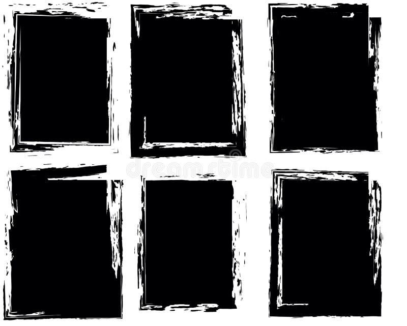 Ensemble de quatre cadres Style grunge noir image libre de droits
