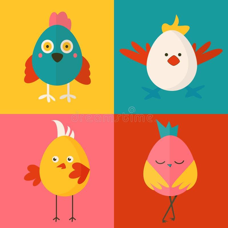Ensemble de quatre caractères de poulet illustration libre de droits