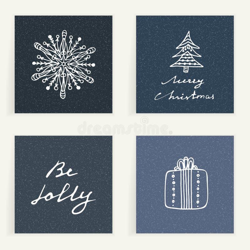 Ensemble de quatre cartes Cadeaux d'or tirés par la main sur les backgrouns bleu-foncé Vacances d'hiver Weihnachtspakete - cadeau illustration stock