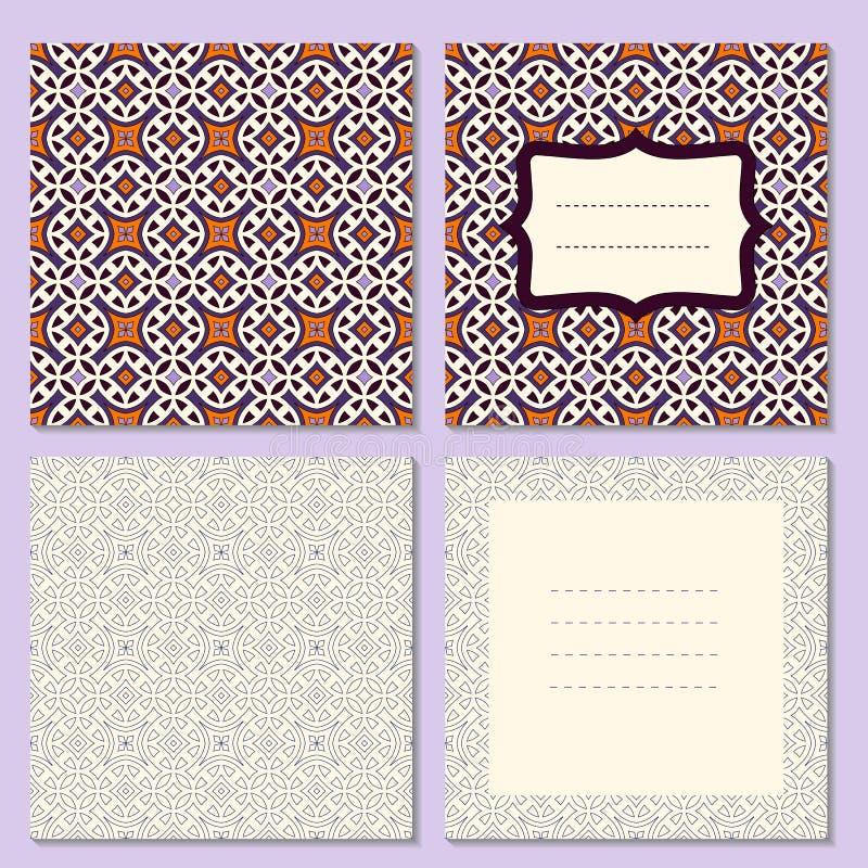 Ensemble de quatre cartes de voeux de page, invitation, disposition de brochures avec la diffusion extérieure et intérieure avec  illustration stock