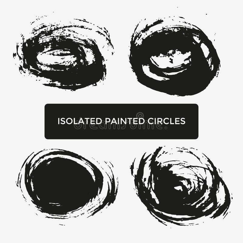 Ensemble de quatre cercles peints créatifs grunges pour le logo, label, stigmatisant illustration libre de droits