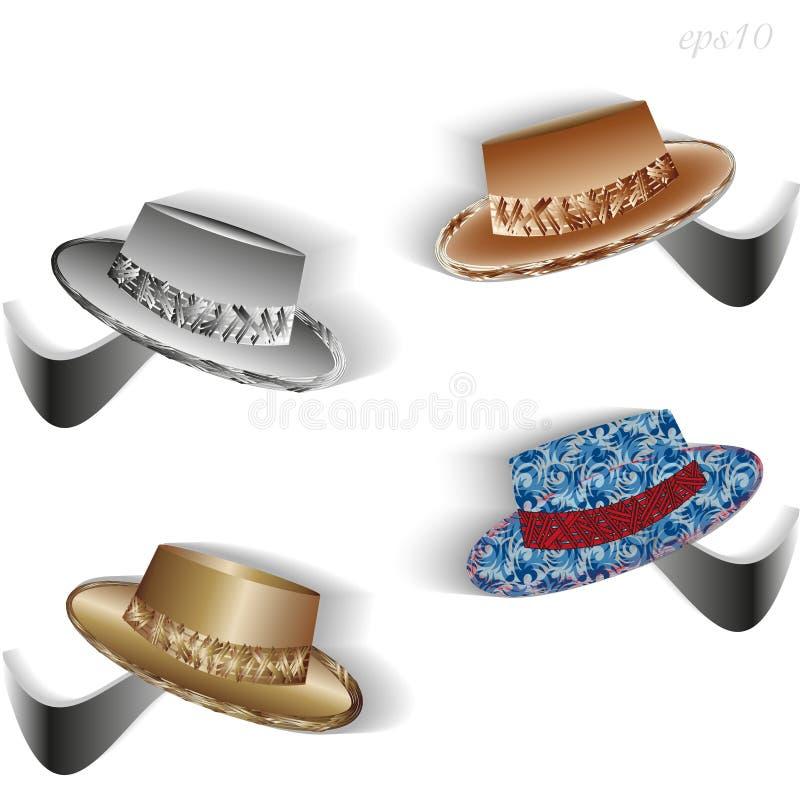 Ensemble de quatre chapeaux illustration de vecteur