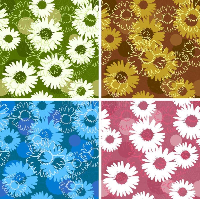 Ensemble de quatre configurations sans joint florales avec des marguerites illustration de vecteur