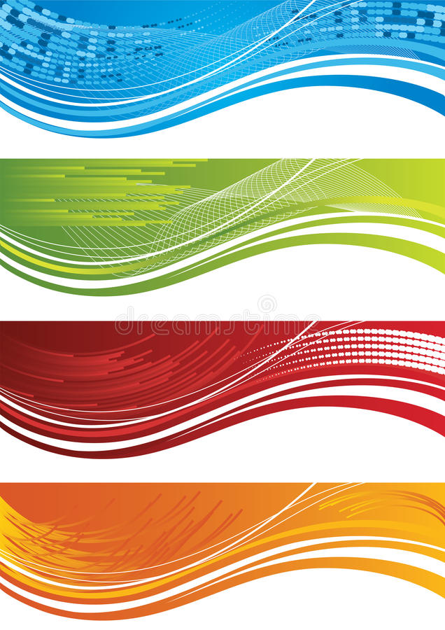 Ensemble de quatre drapeaux tramés colorés illustration libre de droits