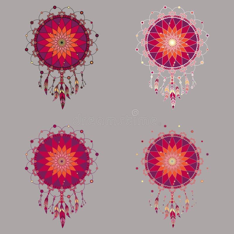 Ensemble de quatre dreamcatchers colorés dans des tons rouges illustration stock