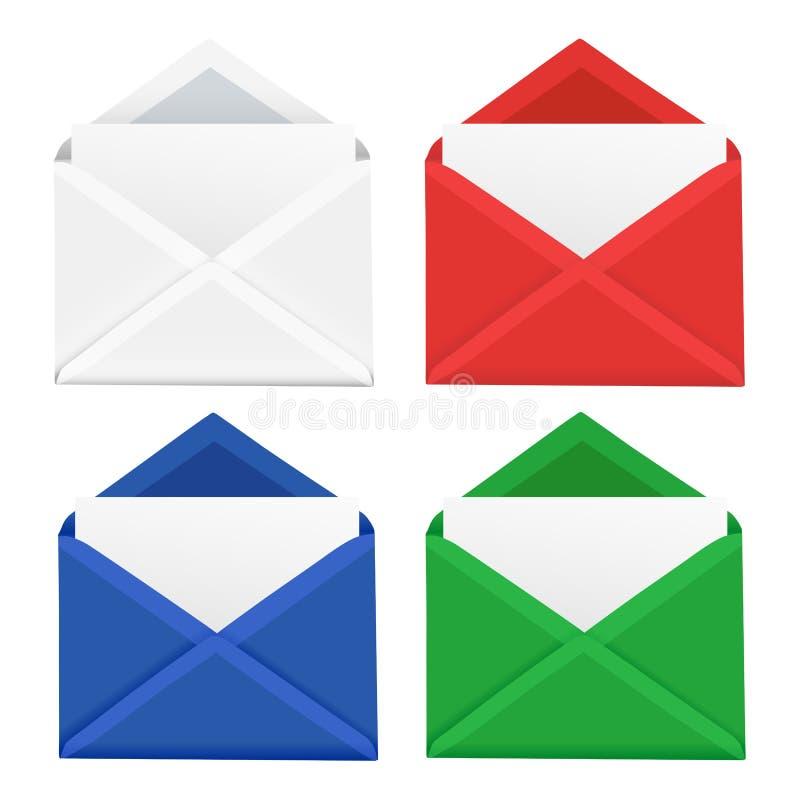 Ensemble de quatre enveloppes réalistes avec l'OIN différente de couleurs illustration libre de droits