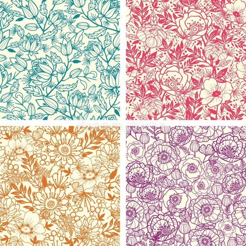Ensemble de quatre floral modèle sans couture de schéma illustration libre de droits