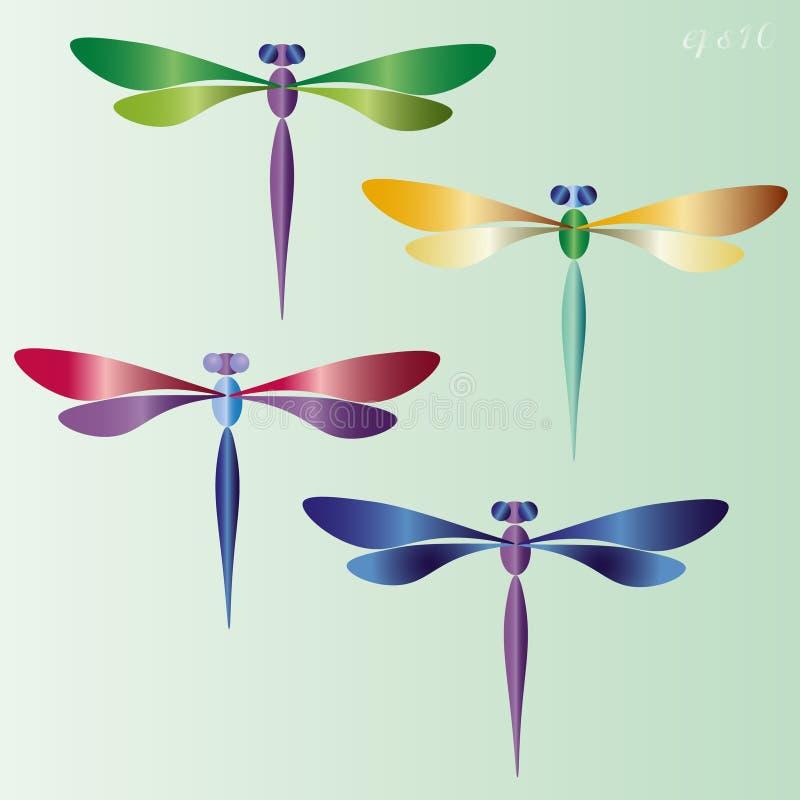 Ensemble de quatre libellules illustration stock