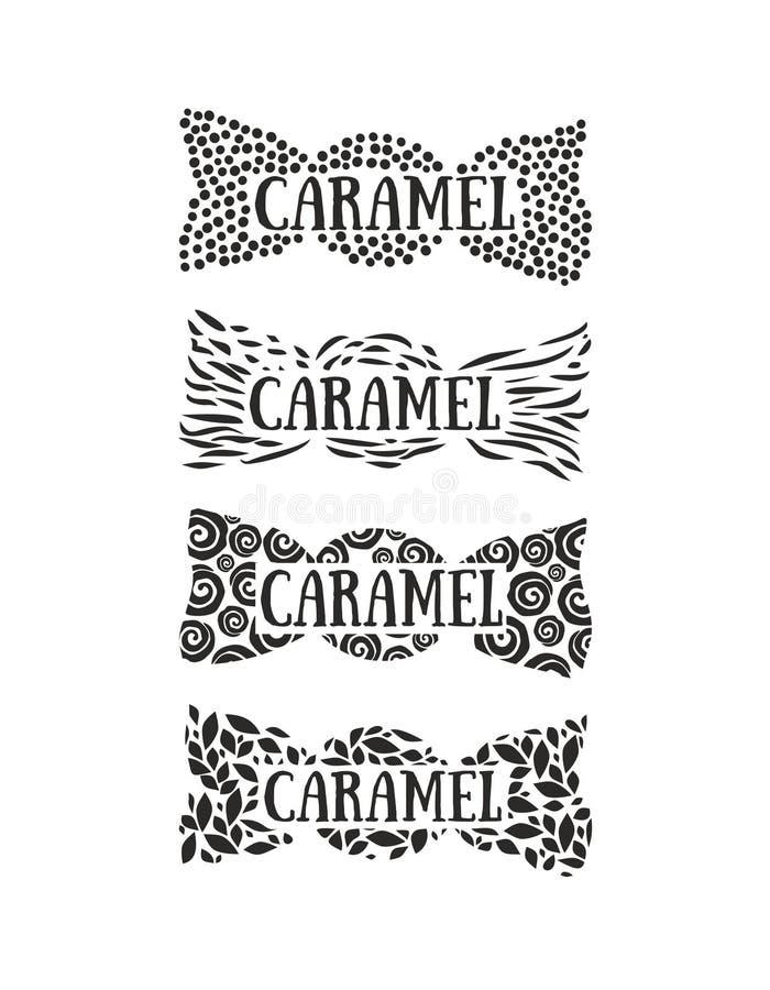 Ensemble de quatre logos de confiserie illustration de vecteur