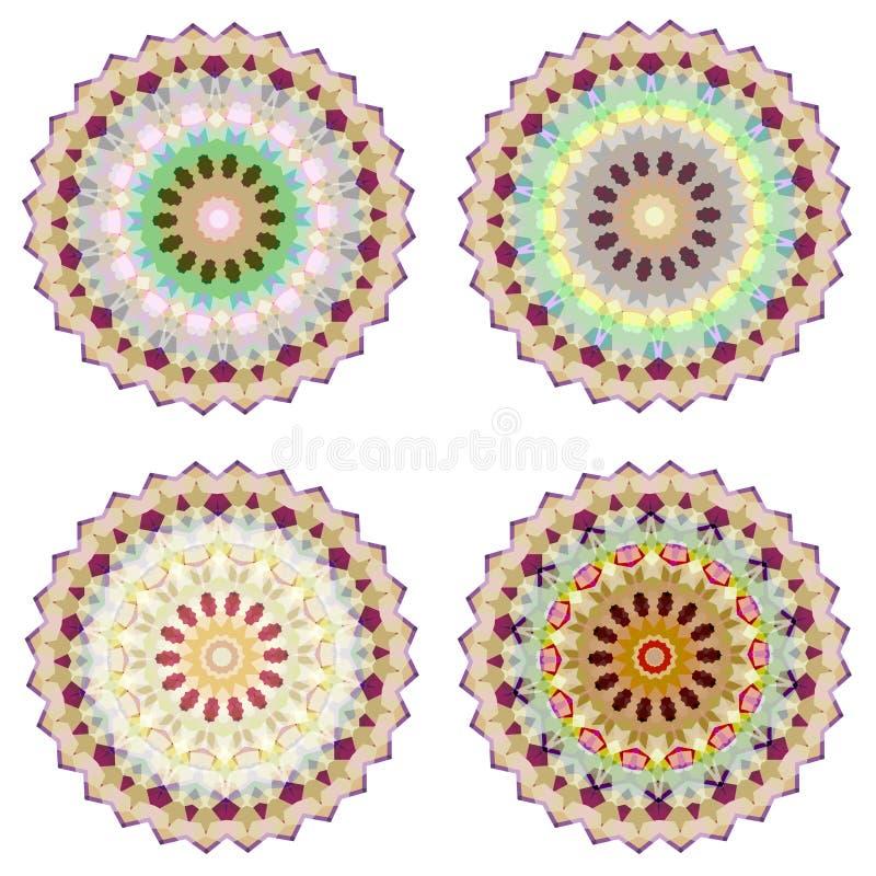 Ensemble de quatre mandalas colorés géométriques illustration stock
