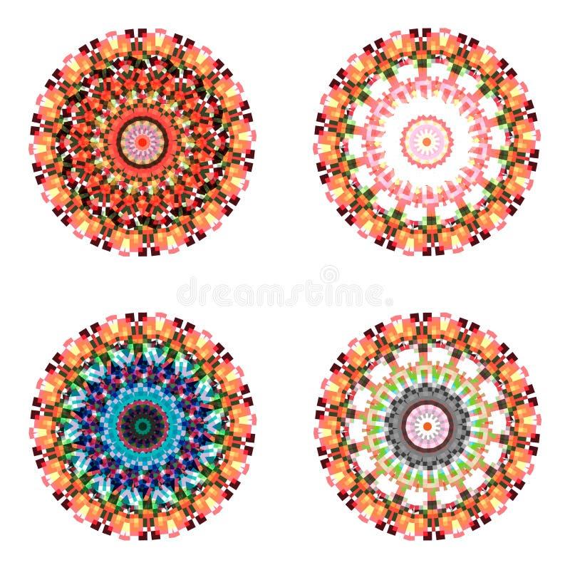 Ensemble de quatre mandalas colorés géométriques illustration libre de droits