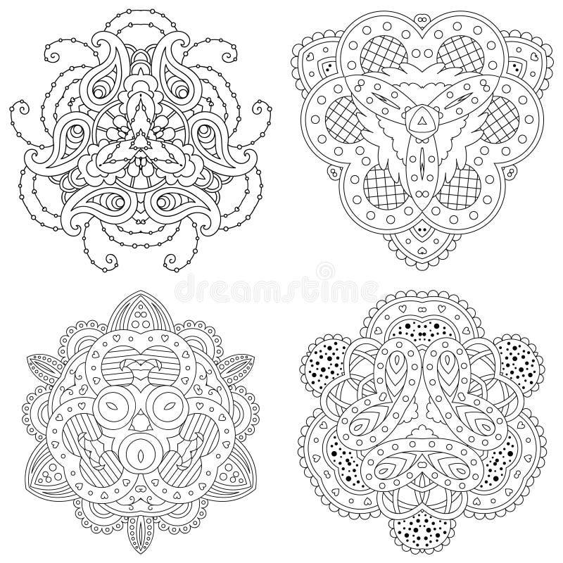 Ensemble de quatre mandalas noirs et blancs illustration libre de droits