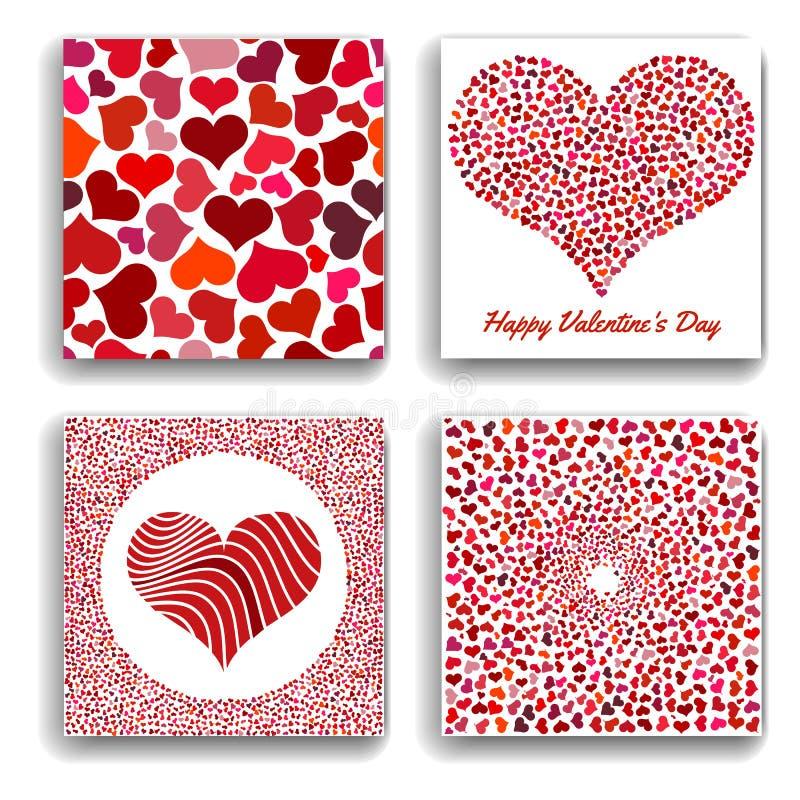 Ensemble de quatre milieux avec les coeurs rouges Symbole de l'amour illustration stock