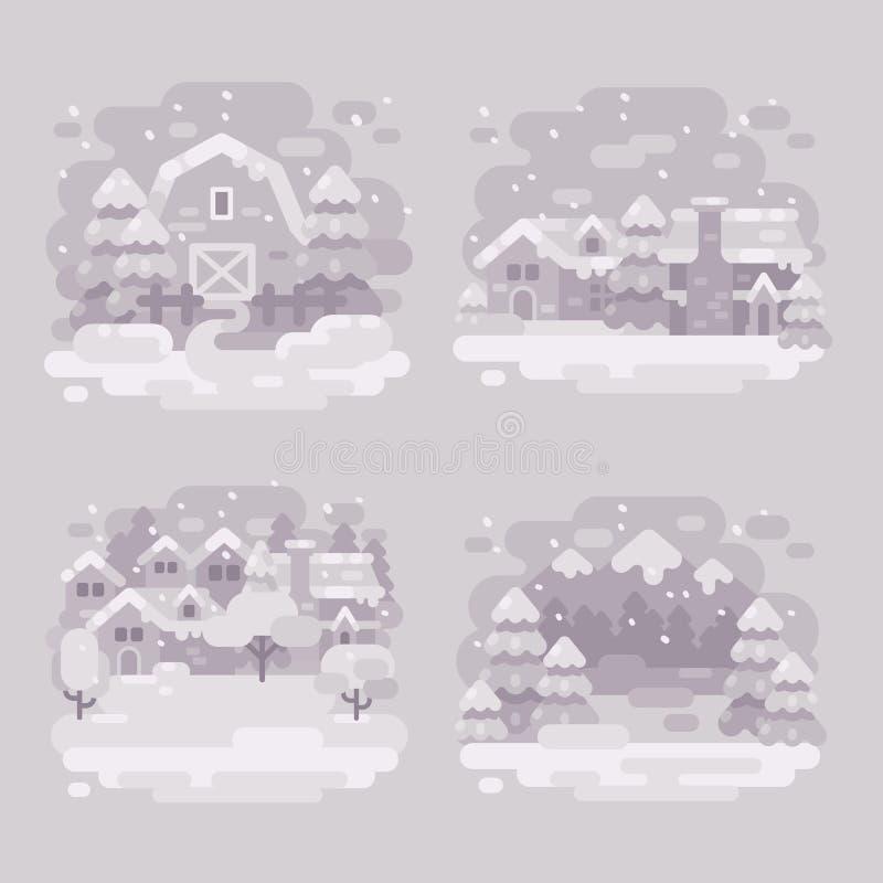 Ensemble de quatre milieux blancs monochromes de paysage d'hiver illustration libre de droits
