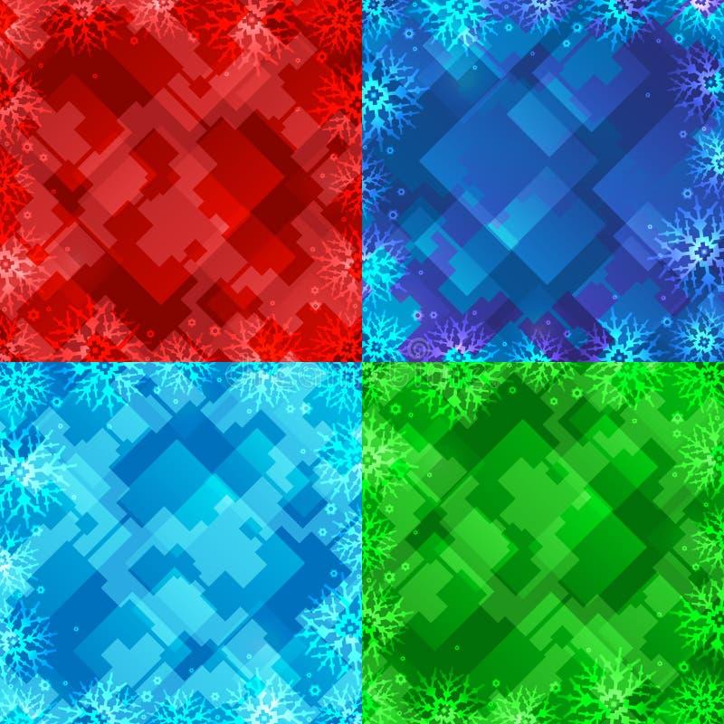 Ensemble de quatre milieux d'hiver Trame de l'hiver avec des flocons de neige cardez la salutation de Noël Fond de nouvelle année illustration stock