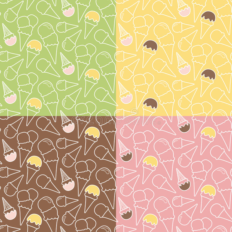 Ensemble de quatre modèles de crème glacée d'été sur différents milieux illustration stock