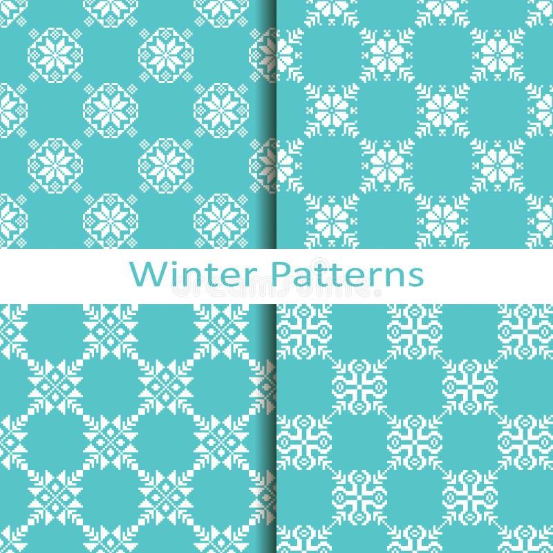 Download Ensemble De Quatre Modèles Géométriques Bleus D'hiver Illustration de Vecteur - Illustration du saison, simple: 76081541