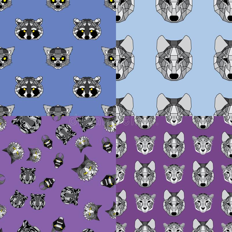 Ensemble de quatre modèles géométriques différents d'animaux illustration stock