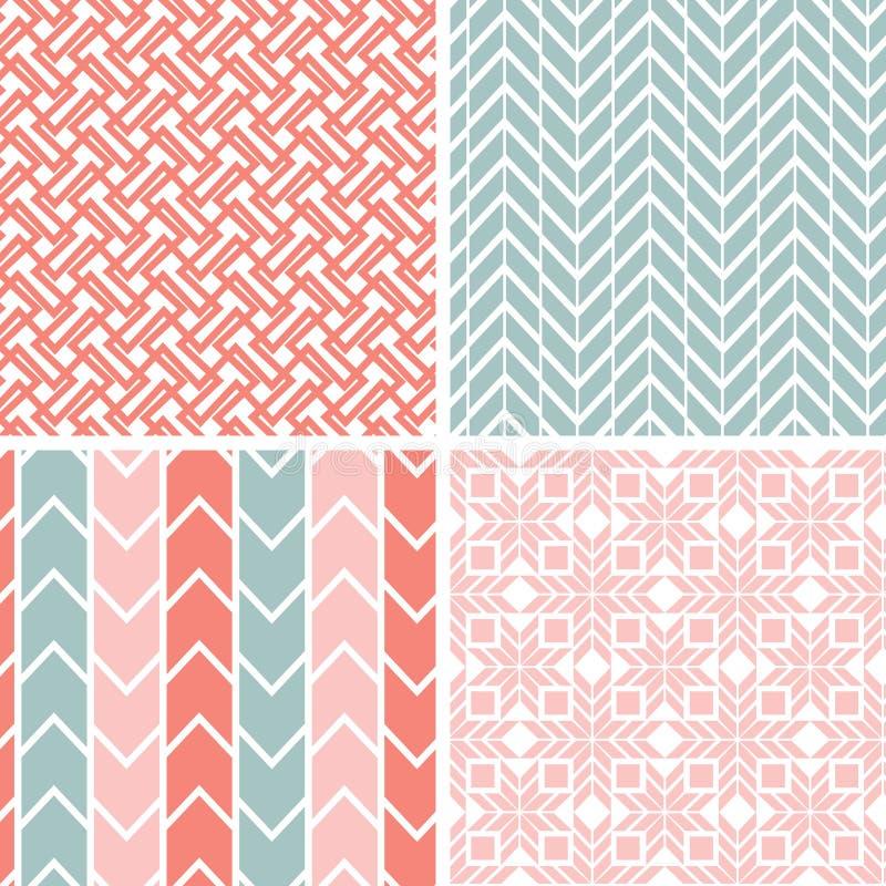 Ensemble de quatre modèles géométriques roses gris et illustration stock