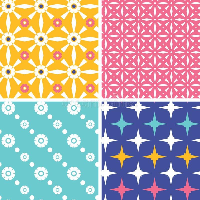 Ensemble de quatre modèles géométriques roses jaunes bleus illustration libre de droits