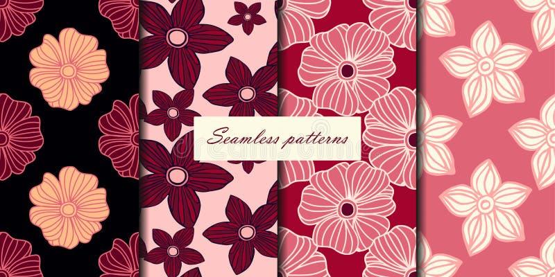 Ensemble de quatre modèles sans couture avec des fleurs dans des couleurs roses de cerise Fond de vecteur illustration de vecteur