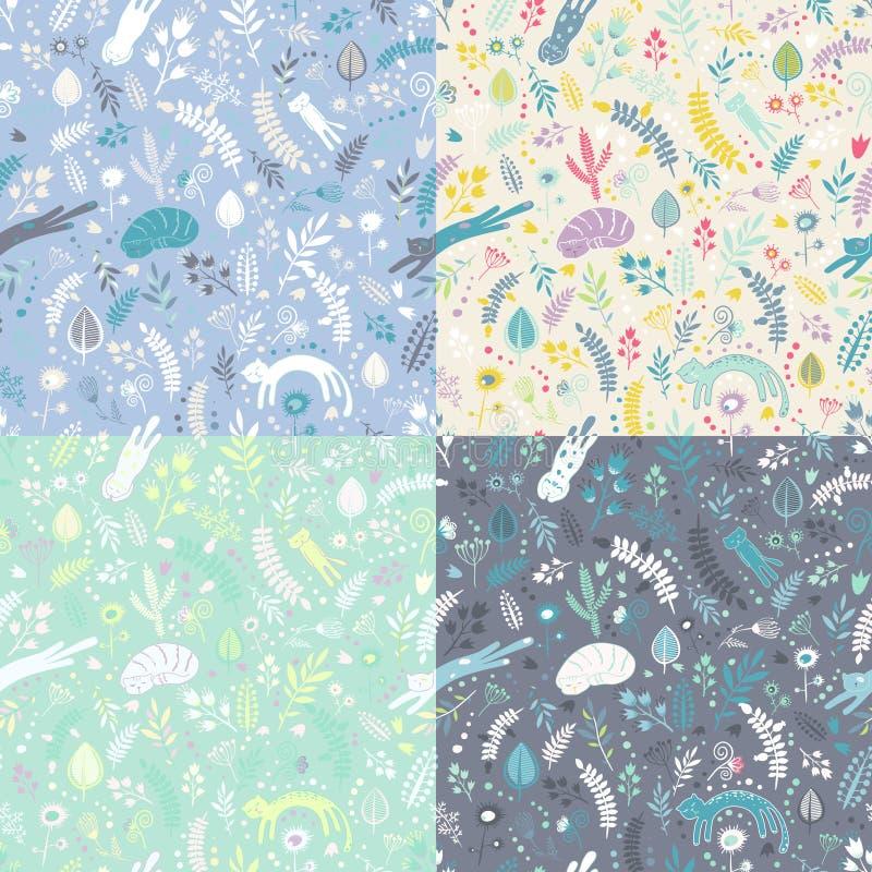 Ensemble de quatre modèles sans couture d'éléments floraux avec des chats et des fleurs de sommeil illustration de vecteur