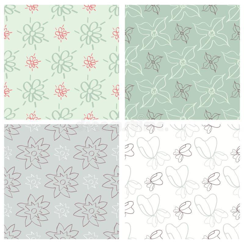 Download Ensemble De Quatre Modèles Sans Couture De Fleur Illustration de Vecteur - Illustration du classique, élément: 56487063