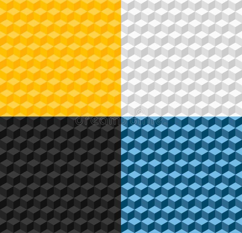 Ensemble de quatre modèles sans couture géométriques illustration de vecteur