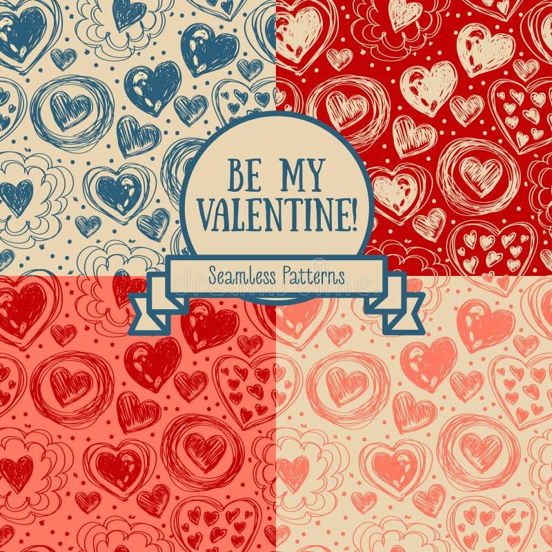 Ensemble de quatre modèles sans couture pour le jour du ` s de valentine avec des coeurs de griffonnage illustration de vecteur