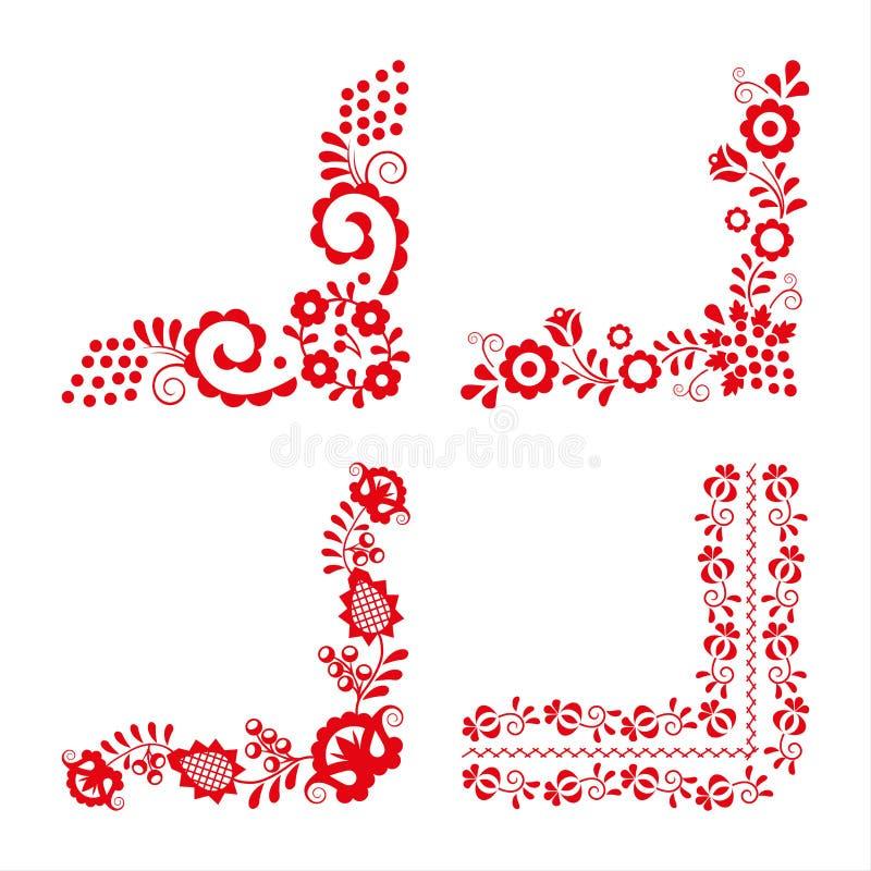 Ensemble de quatre ornements folkloriques traditionnels, broderie rouge illustration libre de droits