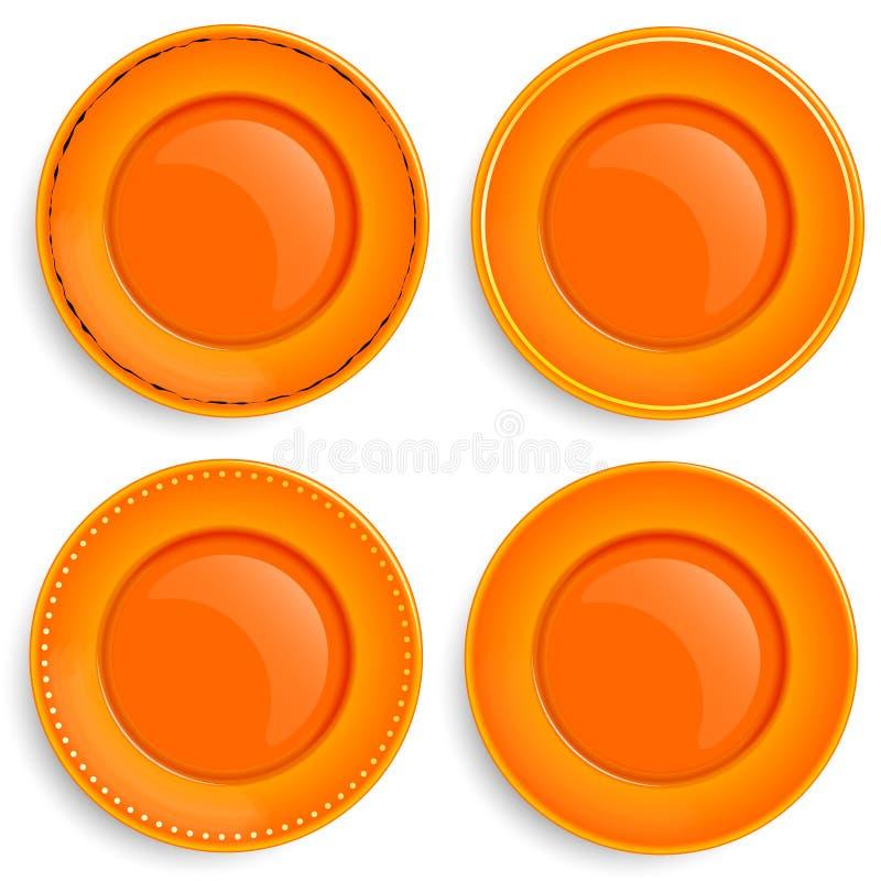 Ensemble de quatre plats vides avec une conception différente illustration stock