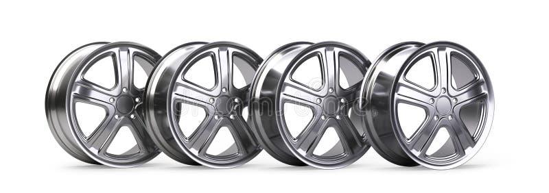 Ensemble de quatre roues d'alliage d'aluminium illustration 3d de haute qualité illustration de vecteur