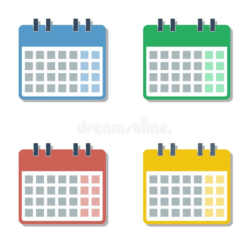Ensemble de quatre de saisons plein de mois de différentes couleurs grilles de calendrier illustration stock