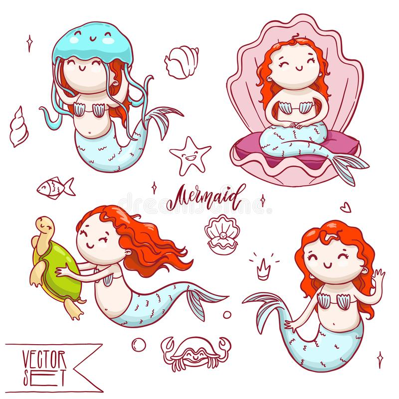 Ensemble de quatre sirènes mignonnes avec d'autres animaux de mer illustration libre de droits