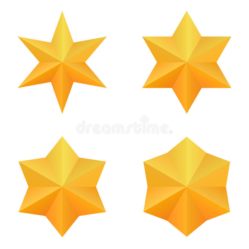 Ensemble de quatre six étoiles d'or de point illustration stock