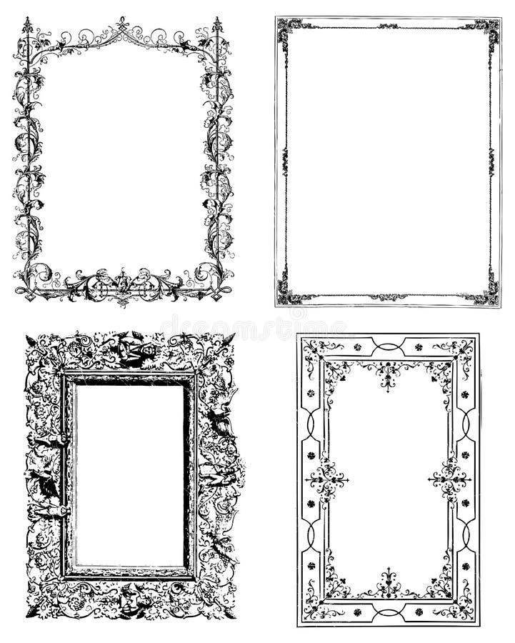 Ensemble de quatre trames de photo de cru illustration stock