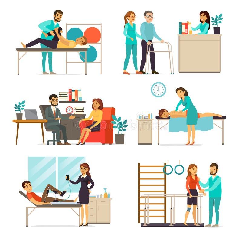 Ensemble de réadaptation et de thérapie illustration stock