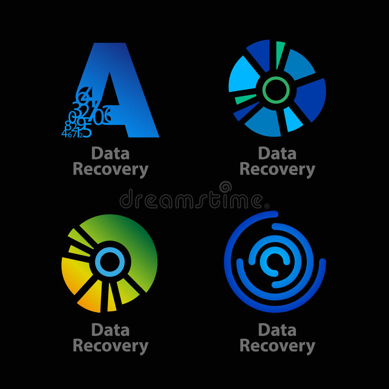 Ensemble de récupération bleue et verte d'isolement de données illustration libre de droits