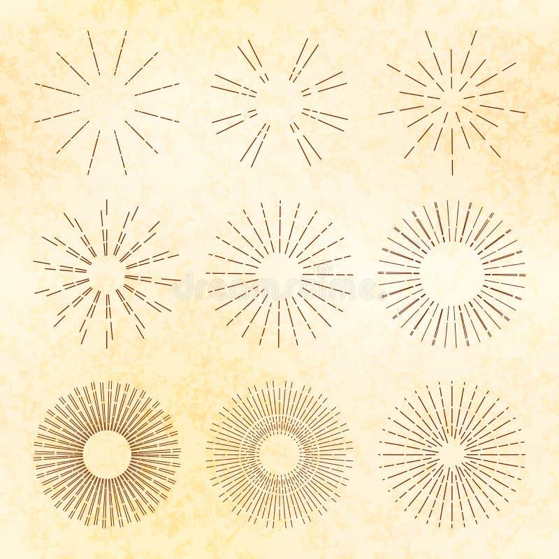 Ensemble de rétro starburst tiré par la main et de rayons de soleil Éléments de vecteur de vintage illustration de vecteur