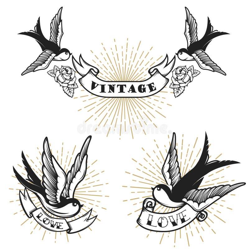 Ensemble de rétro tatouage de style avec l'oiseau d'hirondelle Concevez les éléments pour le logo, label, emblème, signe, insigne illustration libre de droits