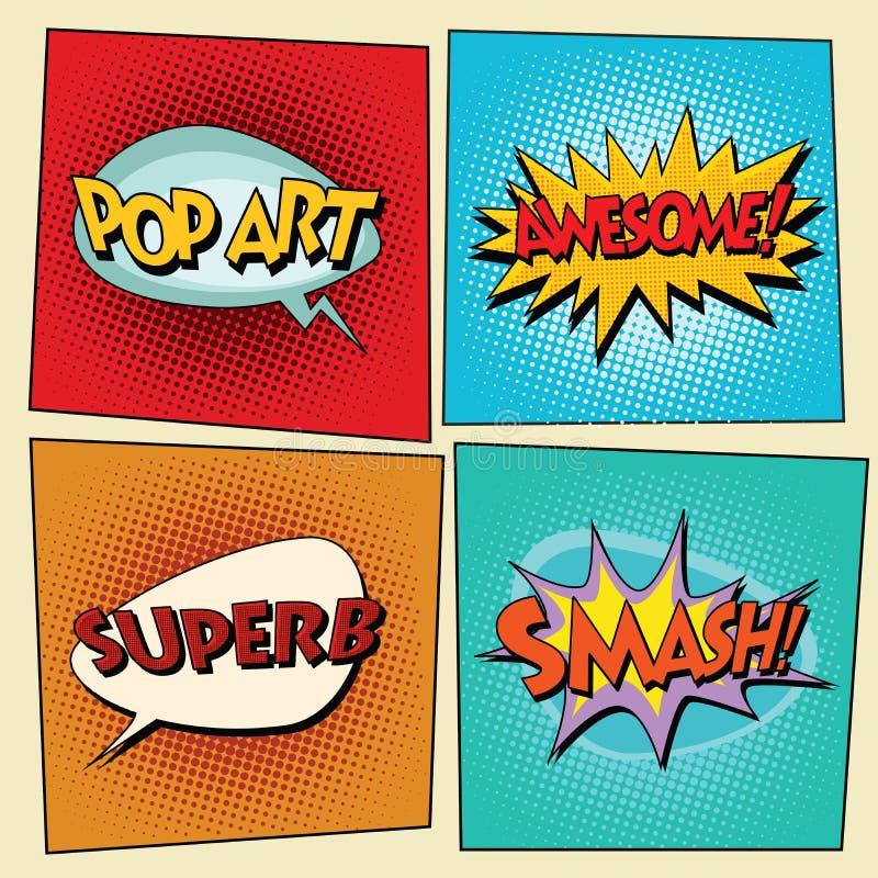 Ensemble de rétros expressions comiques d'art de bruit de bulles illustration de vecteur